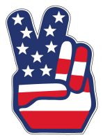 "USA American flag peace sign sticker decal 4"" x 5"""