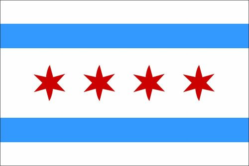 Chicago Illinois Flag Bumper Sticker 5