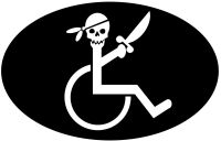 Handicap Pirate in Wheelchair Funny Sticker 5