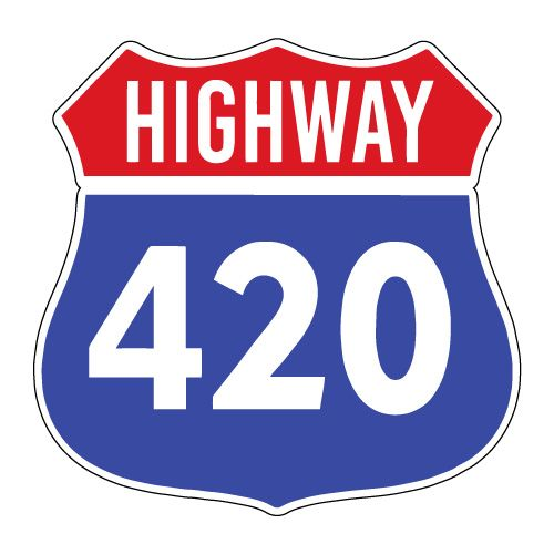 "Highway 420 Weed Cannabis Marijuana - Sticker Decal Notebook Car Laptop 4"" x 5"""