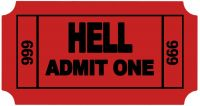 "Ticket to Hell Funny Cool Sticker 3.5"" X 2"""